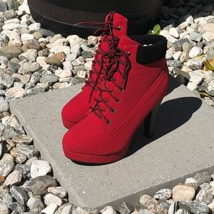Shoes - Just in! Red hot! Lace up booties